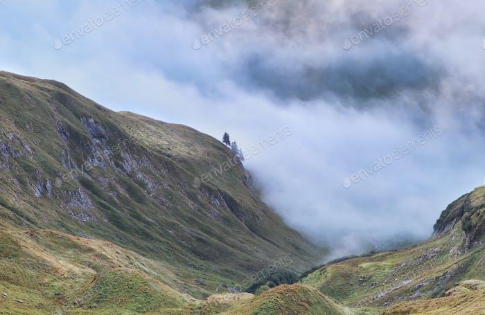 alpine hills in dense morning fog
