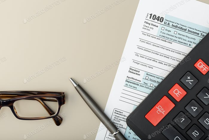 Individual Tax Return Form on table
