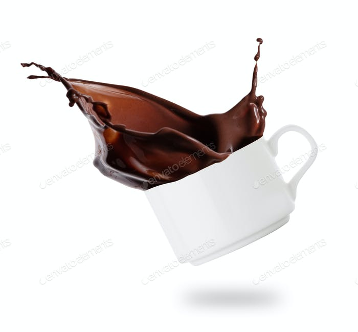 White cup with splash of chocolate