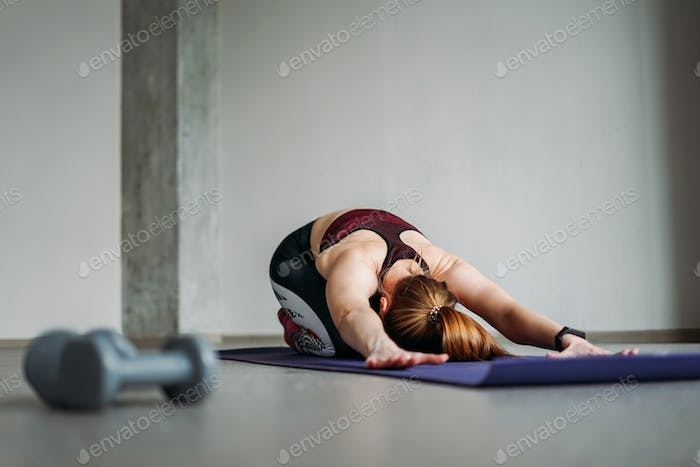 Fit young woman in sport wear girl trains with dumbbells doing stretching