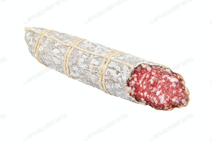 Half of salami sausage isolated