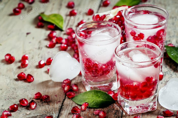 Fresh sparkling water with ice and pomegranate