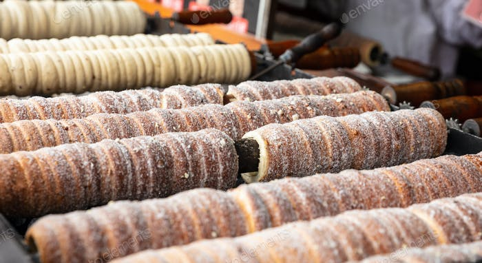 Traditional sweet pastry rolls, Trdelnik, Prague, Czech Republic.