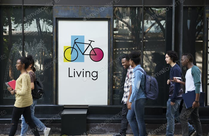Banner Showing Advertising with Bike Icon