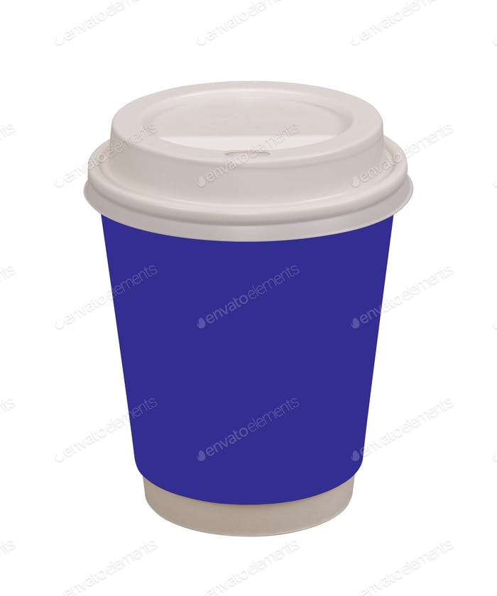Violet coffee drinking cup on a white background