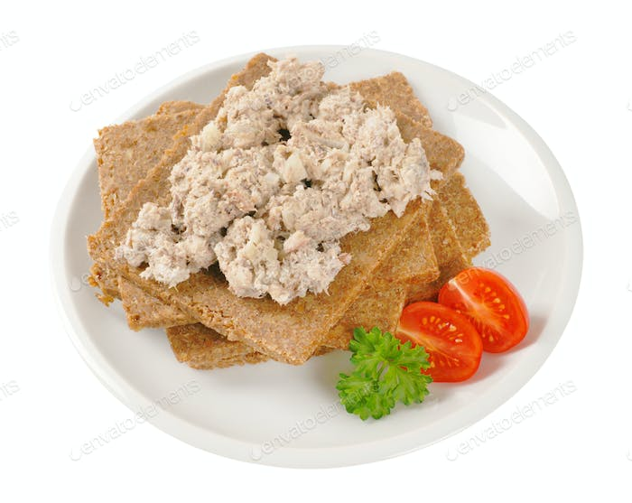 fitness bread with fish spread