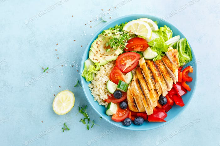 Thumbnail for Lunch bowl with grillet chicken breast, fillet, bulgur and fresh vegetable salad