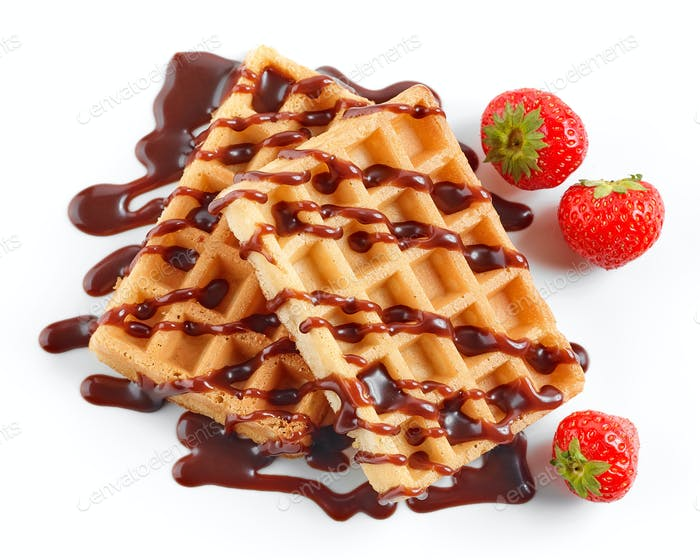 Thumbnail for two waffles decorated with chocolat sauce and strawberries