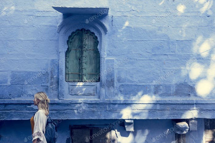 Thumbnail for Western woman exploring the blue city, Jodhpur India