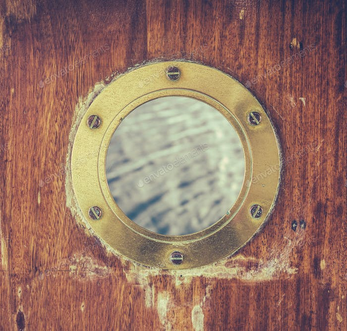 Vintage Brass Porthole With Ocean Water