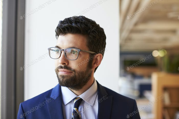 Businessman In Modern Office Standing By Window
