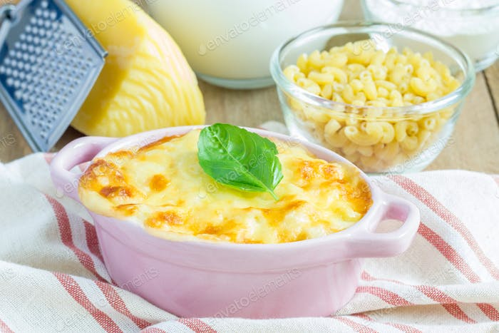 Macaroni and cheese baked in a mini cocotte