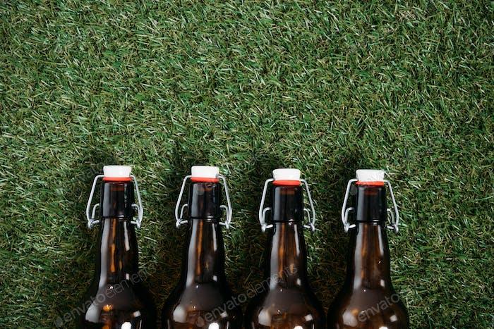Oben Blick auf kalte Bierflaschen liegen auf Gras