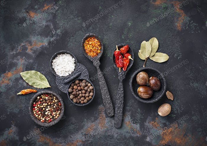 Various type of dry herbs and spices