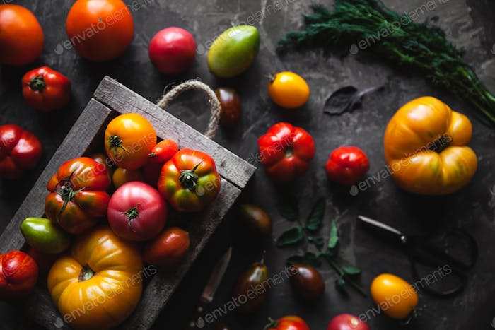 Fresh tomatoes in an old box. On wooden background