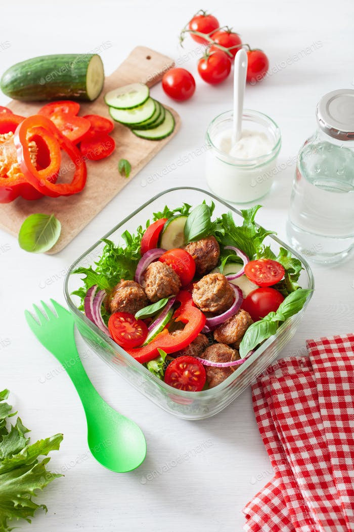 keto paleo lunch box with meatballs, lettuce, tomato, cucumber,