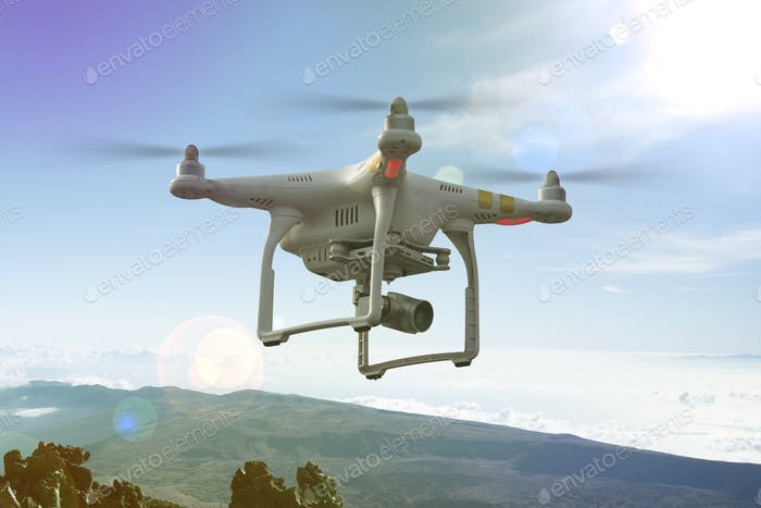 Unmanned copter flight, drone in the sky
