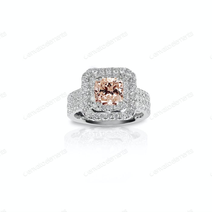 Peach Pink Morganite Beautiful Diamond Engagement ring.