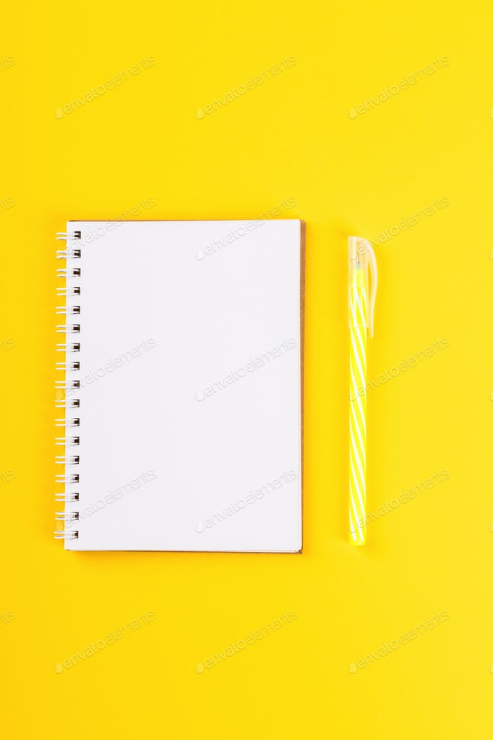 Notebook, pen Accessories office concept