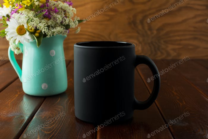 Black coffee mug rustic mockup with wildflowers in mint green va