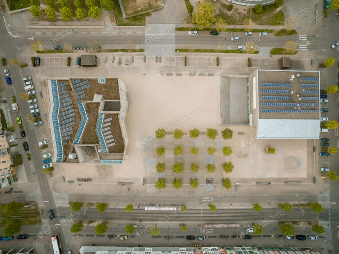 aerial view of buildings with solar panels, Kyiv, Ukraine