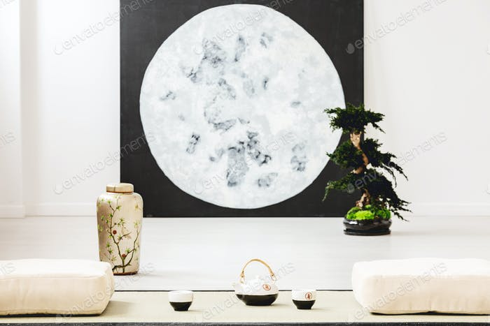 Moon poster and bonsai between pillows on the floor in japanese