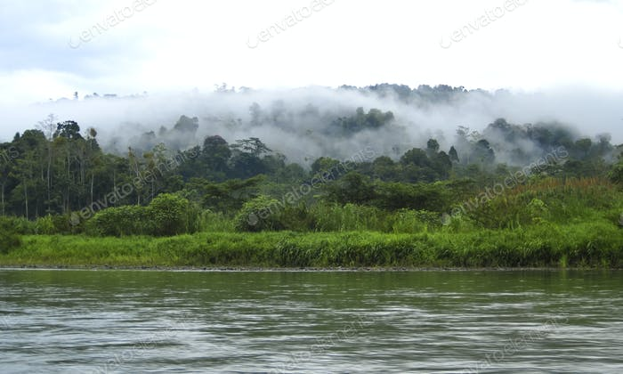 River and Mountain Scenery with Clouds in Costa Rica