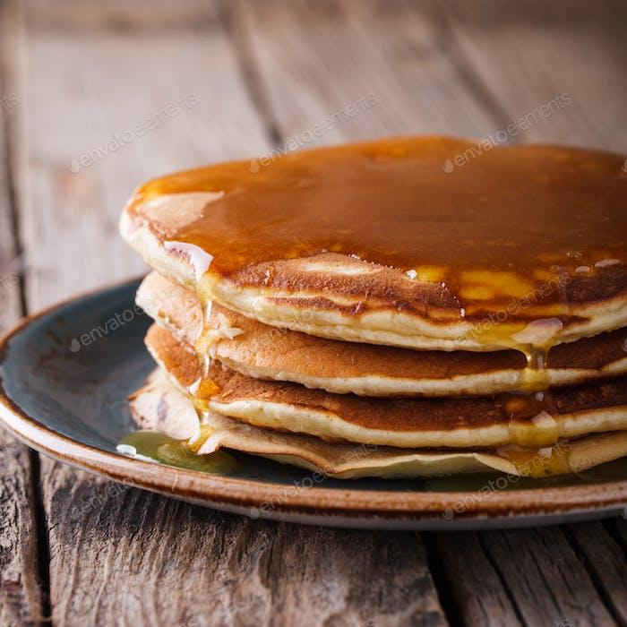 Pancake folded stack of with liquid honey