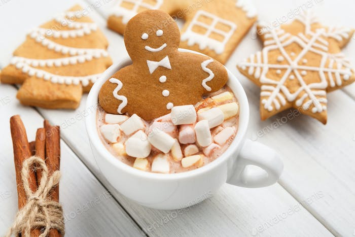 Gingerbread cookie in cup of cocoa with marshmallows