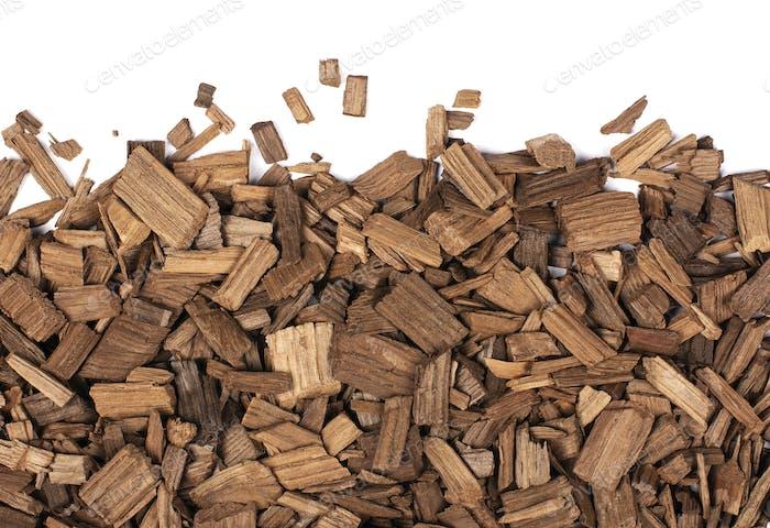 Wooden chips of oak