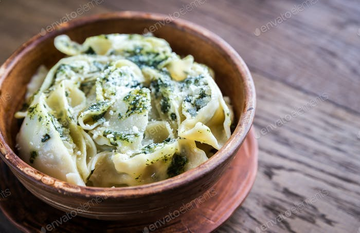 Tortellini with ricotta and spinach under mint sauce