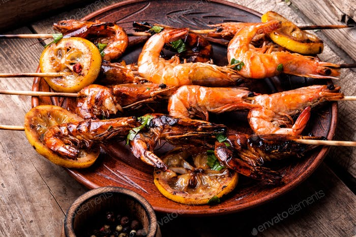 Barbecue shrimps or prawns