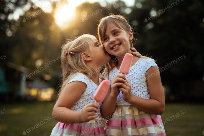 Eating an icecream