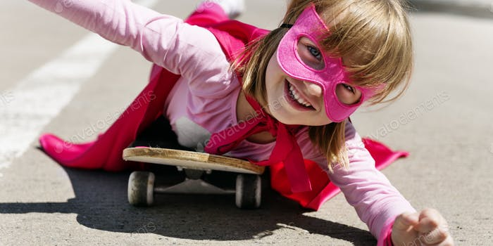 Little Girl Riding Skateboard Concept