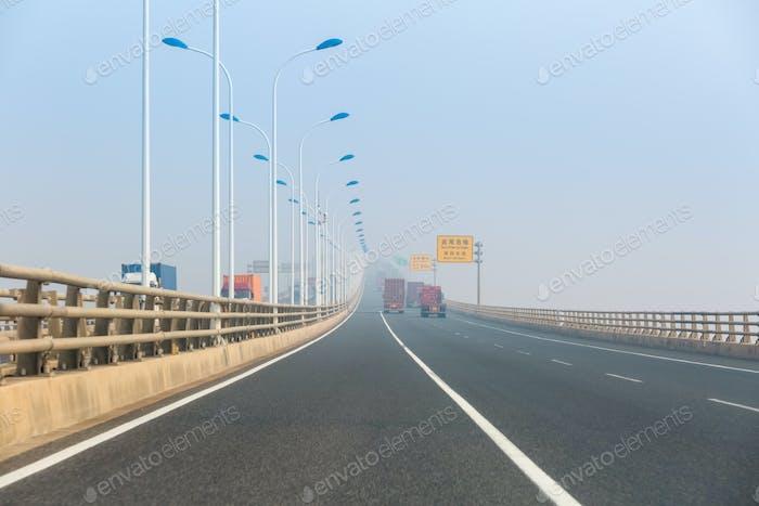 container trucks on the east china sea bridge