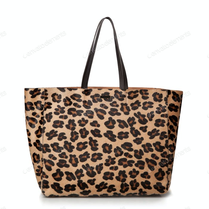 luxury leopard female bag isolated on white