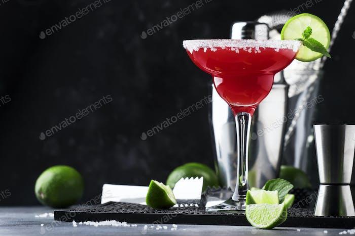 Watermelon margarita, alcoholic cocktail