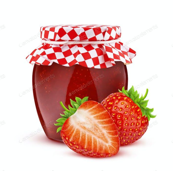 Jar of strawberry fruit jam isolated on white background