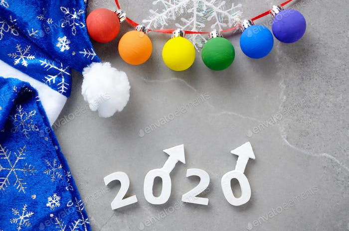 Greeting New Year or Christmas card for 2020 showing two male Ma
