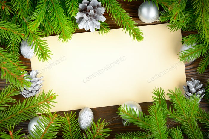 Flat lay mockup of holiday greeting card made of brown craft pape