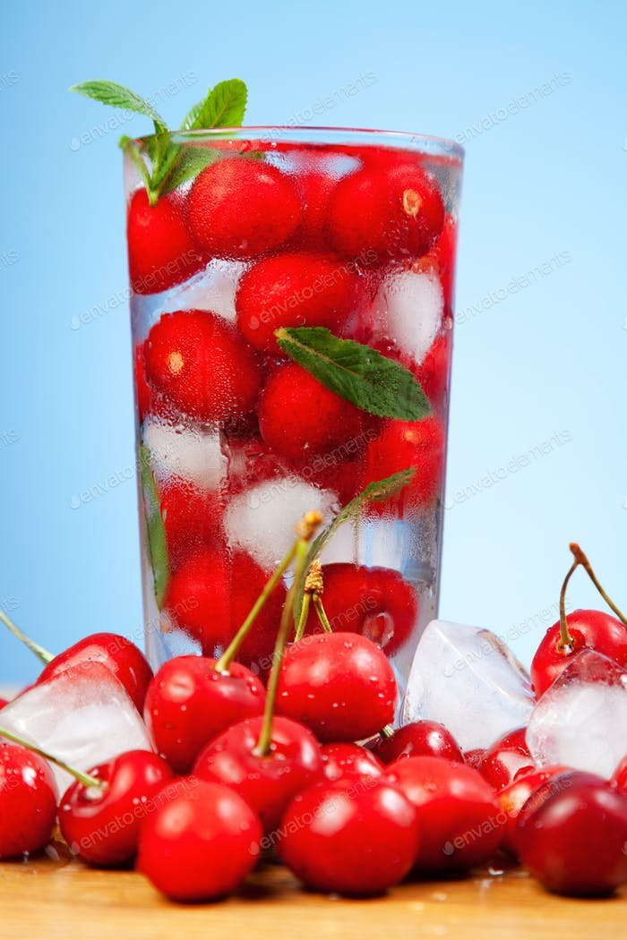 Cherry drink with ice