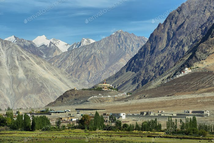 View of Nubra valley with Maitreya Buddha statue and Diskit gompa, Ladakh, India