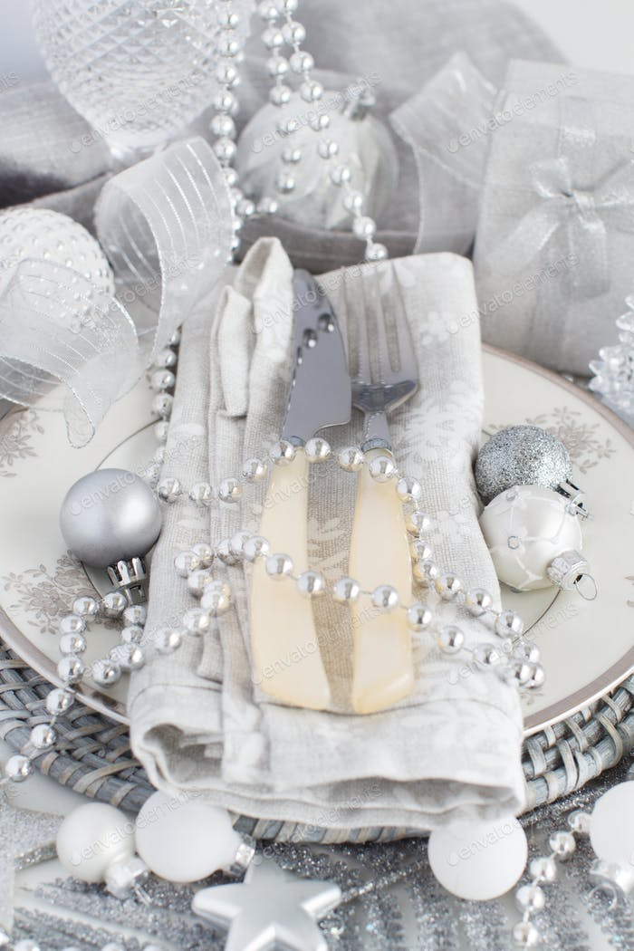 Silver Christmas Table Setting