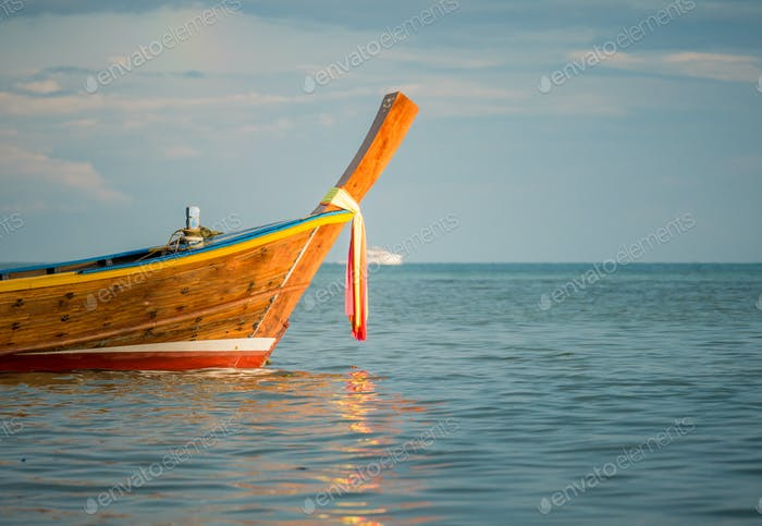 Long boat and tropical beach, Andaman Sea