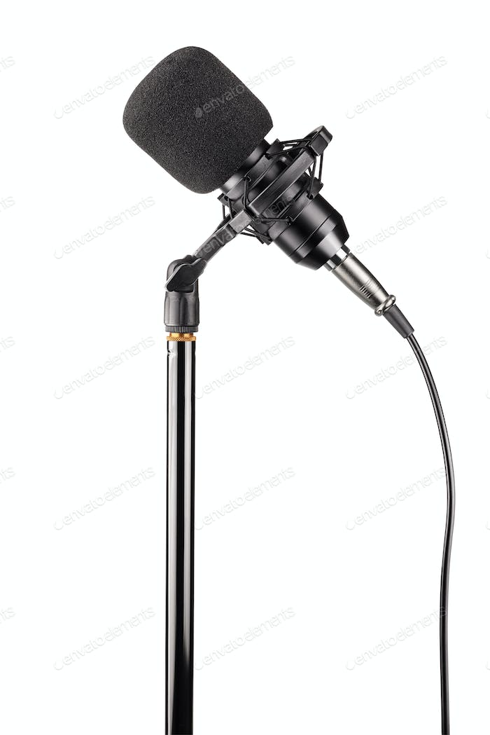 Studio condenser microphone isolated on white