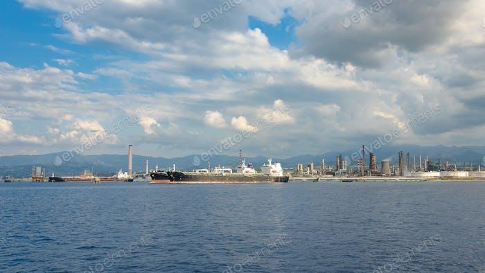 Big ships in industrial zone in Milazzo on Sicily