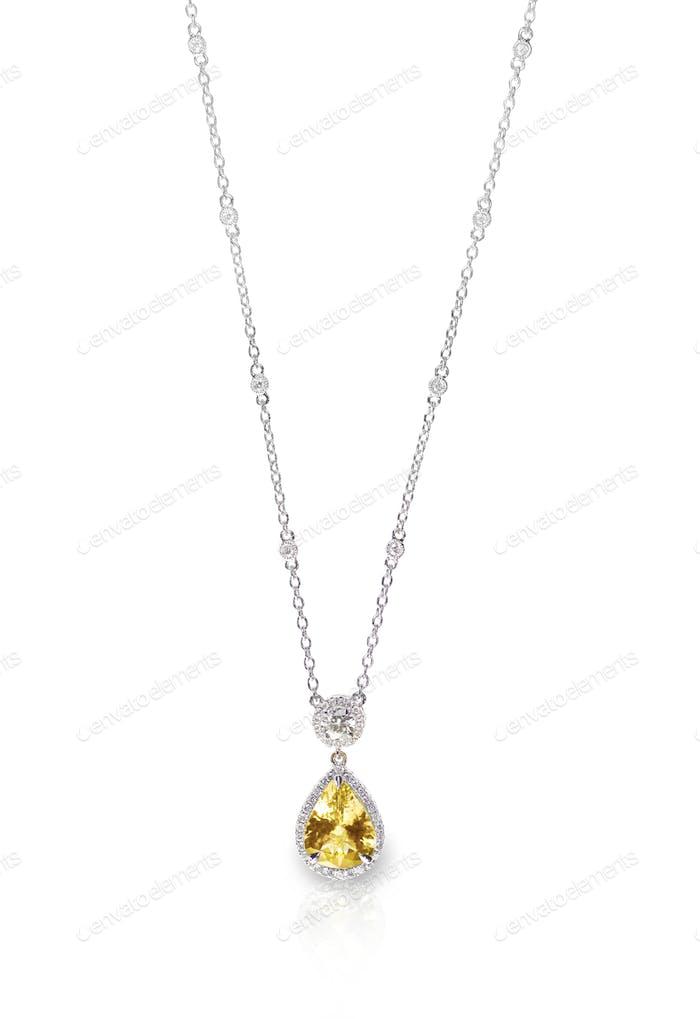 Yellow Diamond Citrine Topaz pendant necklace