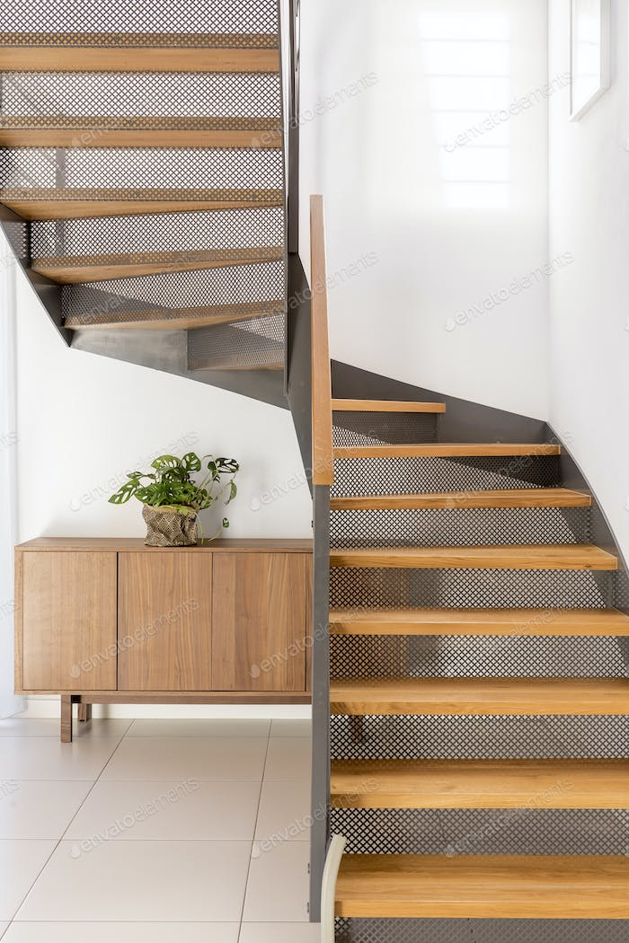 Industrial metal and wooden stairs