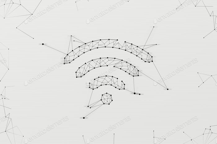 Wifi symbol made in low polygonal style over light background