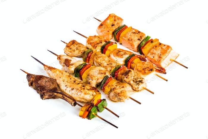 Tasty grilled meat, shish kebab